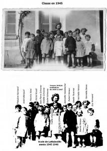 les élèves , école 1945, avec légende
