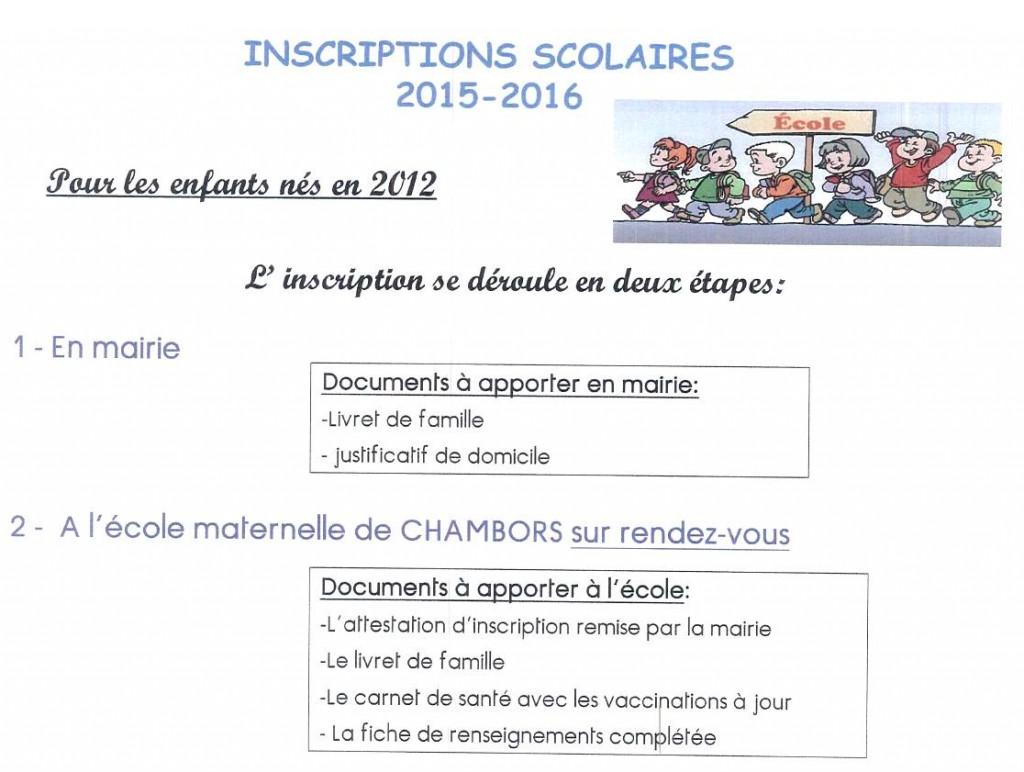 Ecole inscription nouveaux élèves, enfants nés en 2012