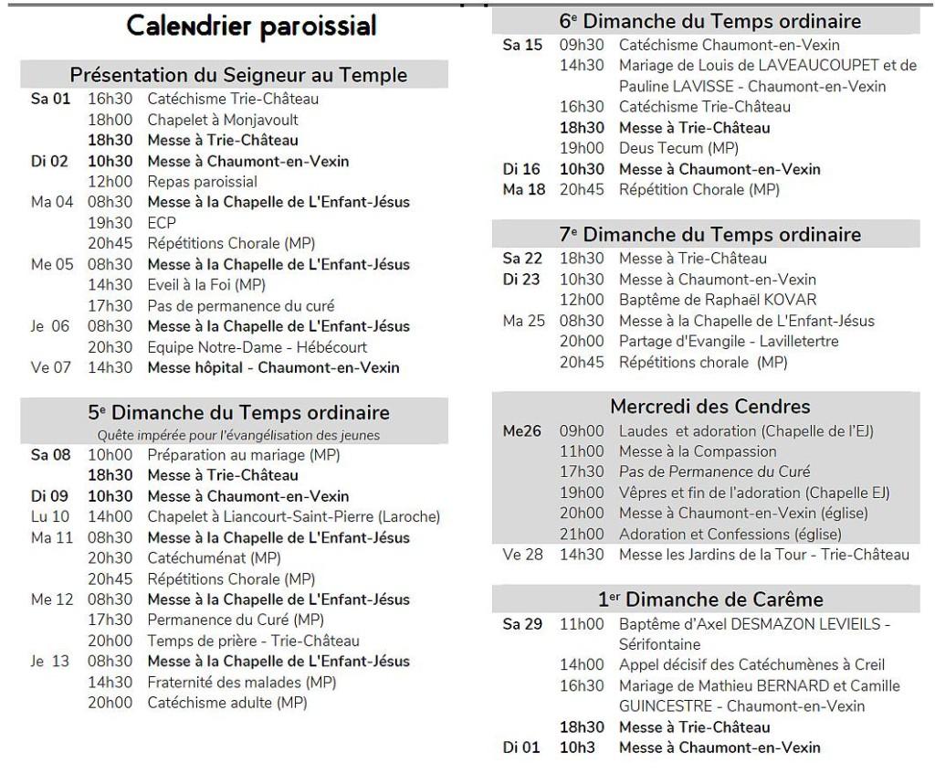 calendrier messes fev2020