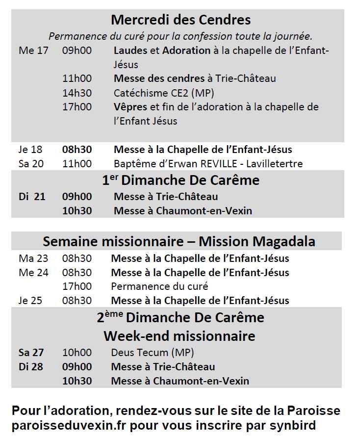 calendrier messes fev2021