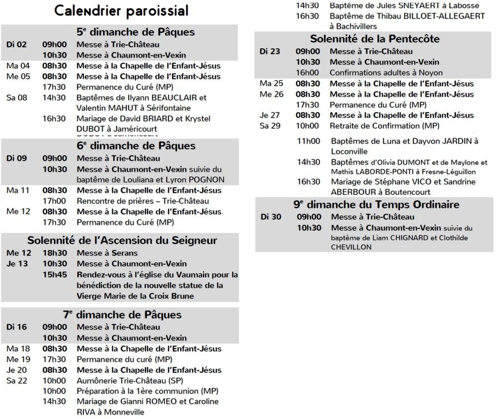 calendrier messes mai2021